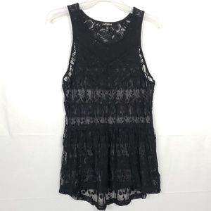 Express Black Sheer Lace Tank Size Sm